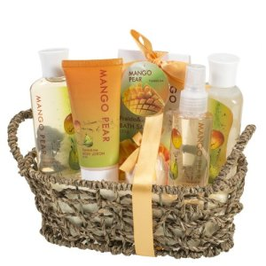 Mango-Pear-Spa-Gift-Set-Woven-Antique-BasketShower-Gel-Bubble-bathBath-SaltBody-Lotion-Body-Spray-Bath-Fizzer-0